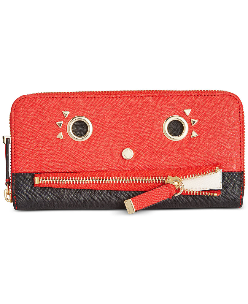 Calvin Klein Saffiano Funny Face Zip Continental Wallet - Vivid Red Combo - PitaPats.com
