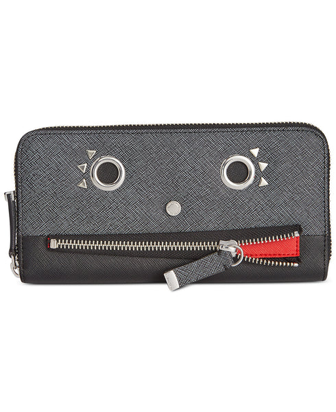 Calvin Klein Saffiano Funny Face Zip Continental Wallet - Heather Black Combo - PitaPats.com
