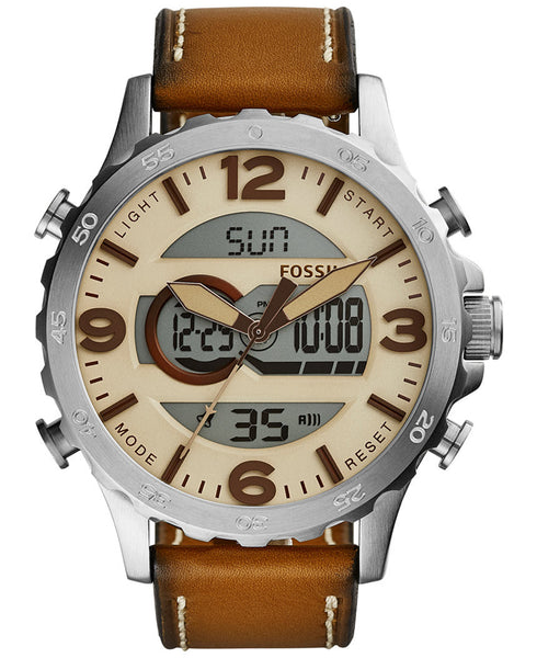 Fossil® Men's Silvertone Analog-Digital Watch with Brown Leather Strap - PitaPats.com