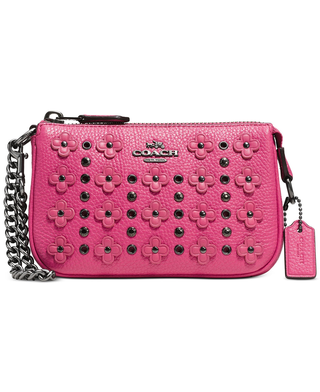 Coach Nolita Wristlet 15 In Floral Rivets Leather Pink Pit A