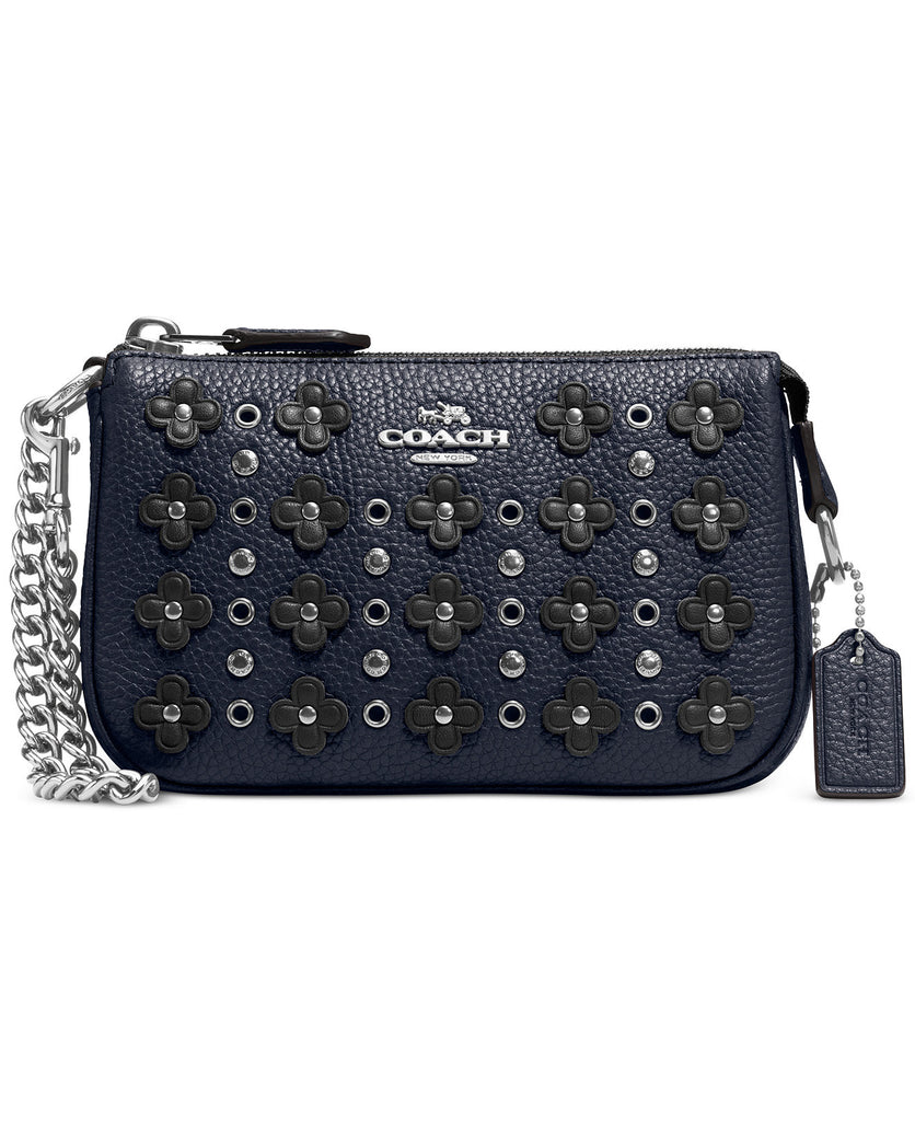 COACH NOLITA WRISTLET 15 IN FLORAL RIVETS LEATHER - Navy - PitaPats.com