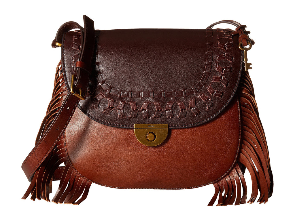 Fossil Emi Fringe Large Saddle Bag - PitaPats.com