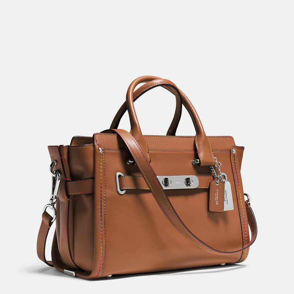 COACH SWAGGER 27 CARRYALL IN RAINBOW STITCH LEATHER - PitaPats.com