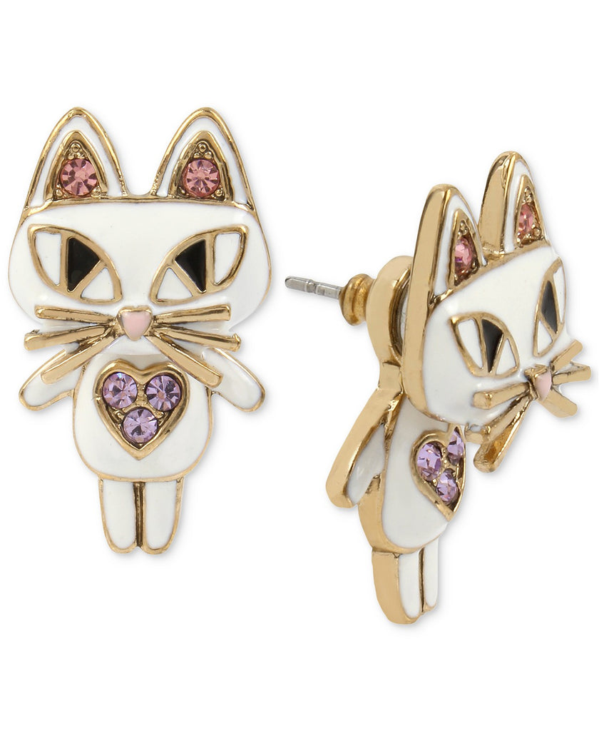 Betsey Johnson Gold-Tone White Enamel Cat Jacket Earring Front/Back