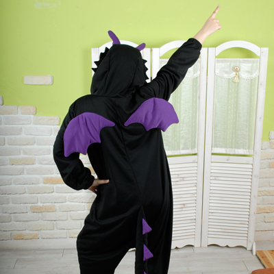 PITaPATs onesie animal jumpsuit costume - long sleeve black dragon