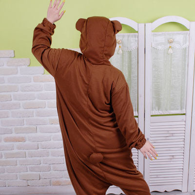 PITaPATs kids onesie animal jumpsuit costume - long sleeve brown bear - PitaPats.com