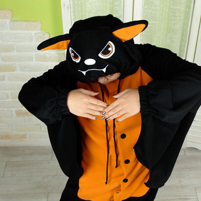PITaPATs onesie animal jumpsuit costume - long sleeve orange bat