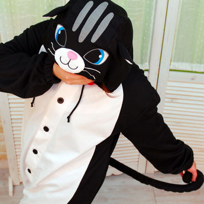 PITaPATs onesie animal jumpsuit costume - long sleeve black cat