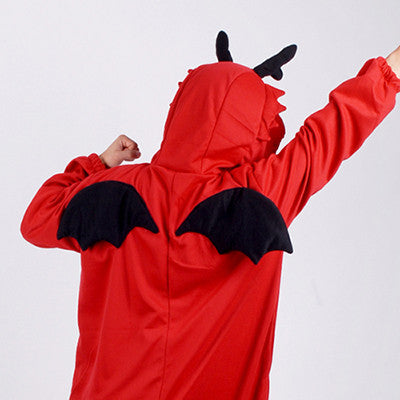 PITaPATs kids onesie animal jumpsuit costume - long sleeve red dragon