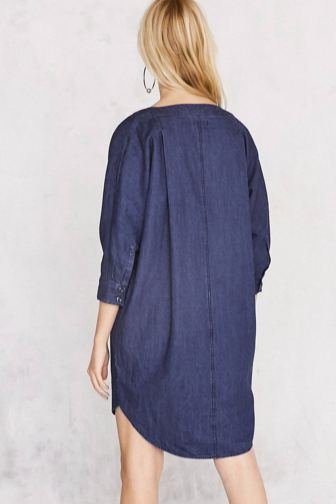 BDG Everly Dolman-Sleeve Denim Mini Dress - PitaPats.com
