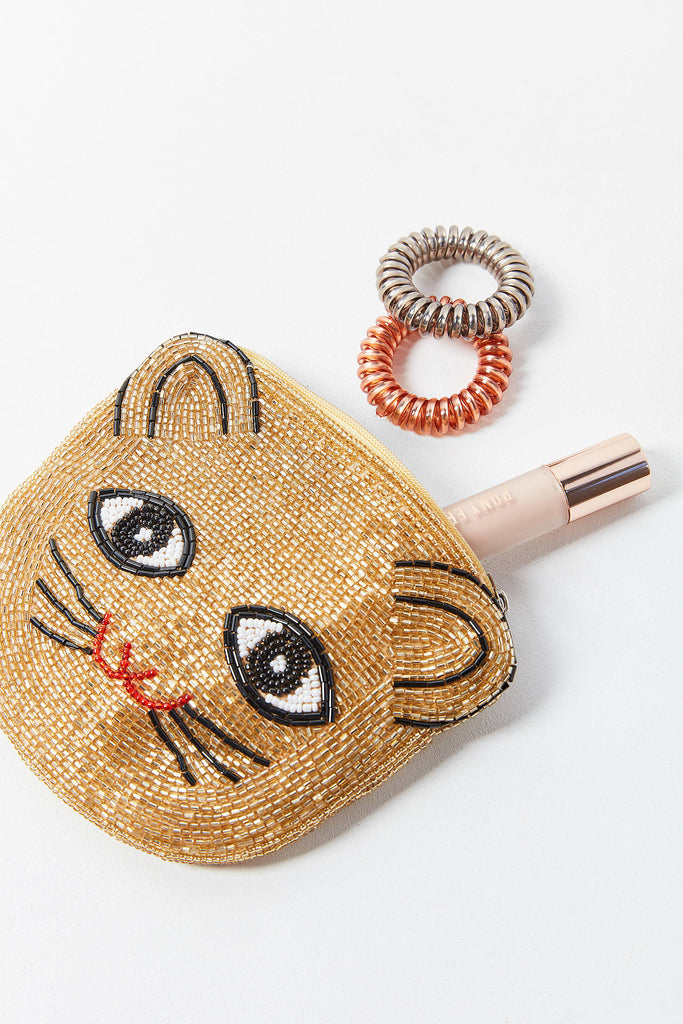 Gold Hand Beaded Cat Face Pouch