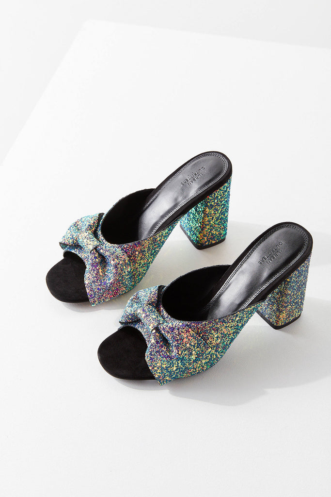Rita Glitter Bow Mule Heel Shoes