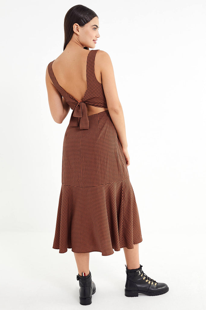 UO Houndstooth Tie-Back Maxi Dress