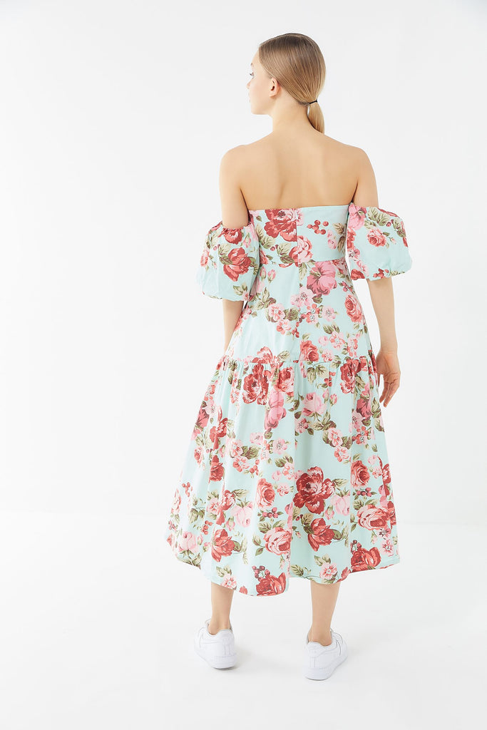 Laura Ashley Georgia Off-The-Shoulder Midi Dress
