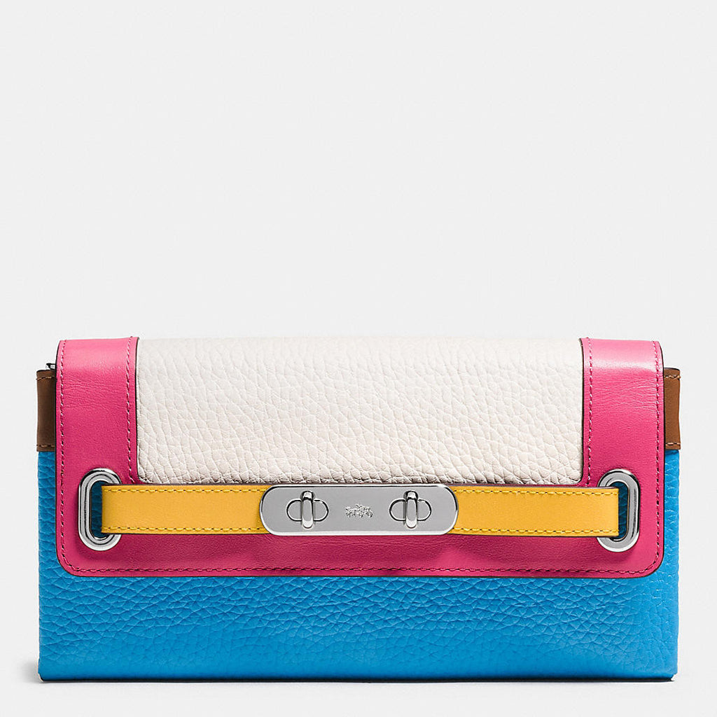 COACH SWAGGER WALLET IN RAINBOW COLORBLOCK LEATHER - PitaPats.com