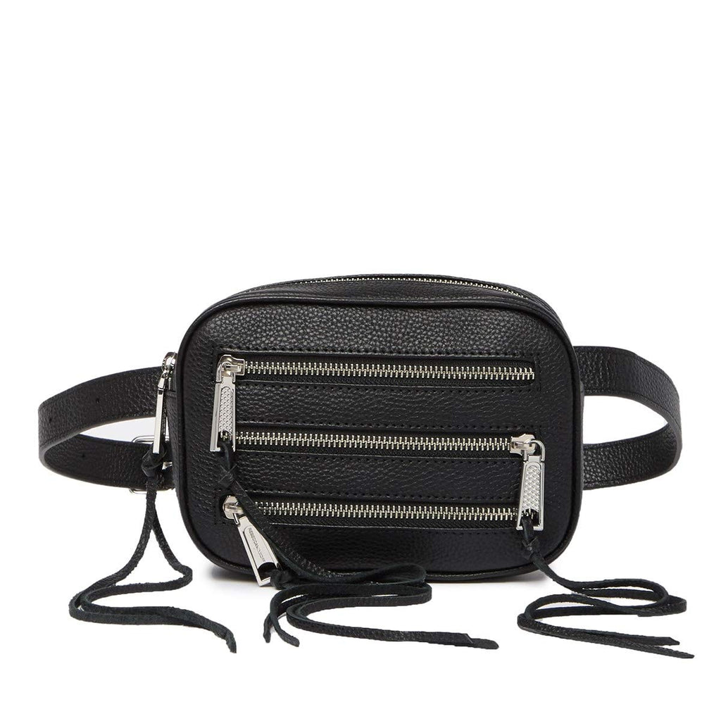 Rebecca Minkoff 3 Zip Leather Belt Fanny pack Bag Black
