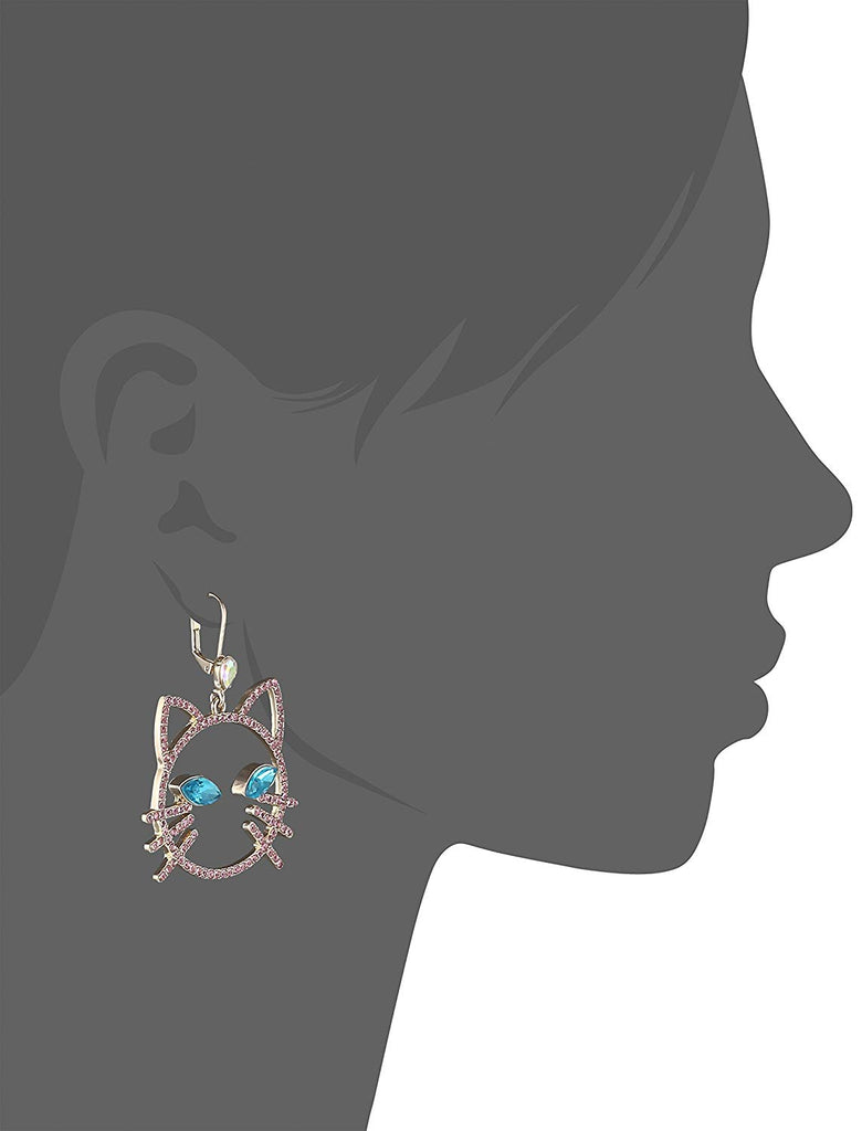 Betsey Johnson Womens Pink Stone Open Cat Face Drop Earrings