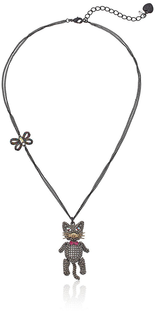 Betsey Johnson Halloween  Black and Hematite Cat Pendant Necklace - PitaPats.com