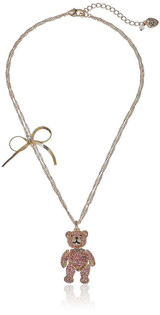 Betsey Johnson Womens Pave Bear Pendant Necklace - PitaPats.com