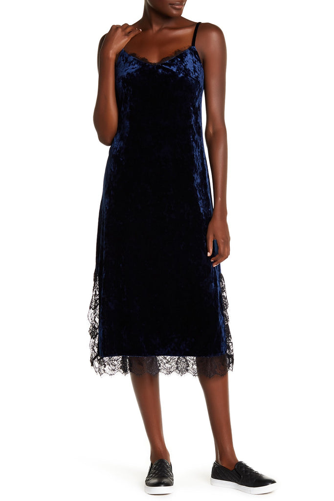 Chelsea28 Lace Trim Velvet Slip Dress - PitaPats.com