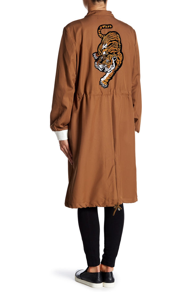 endless rose Tiger Patch Embroidered Oversized Parka - PitaPats.com
