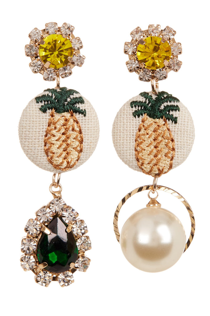 Cara Accessories Rhinestone Mismatched Pineapple Dangle Earrings - PitaPats.com