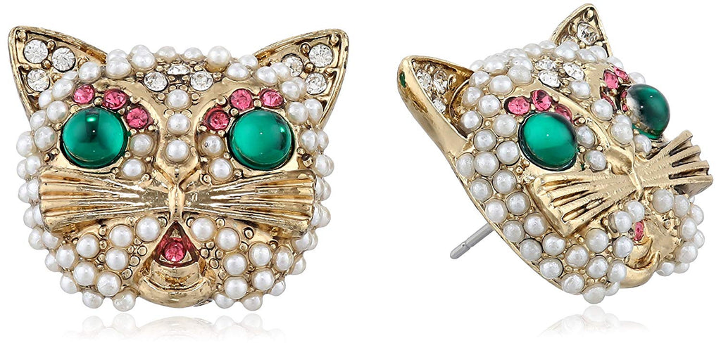 Betsey Johnson Gold-Tone Faux Pearl and Crystal Cat Button Stud Earrings