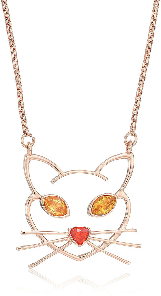 BETSEY JOHNSON Crystal Accent Cat Outline Necklace - PitaPats.com