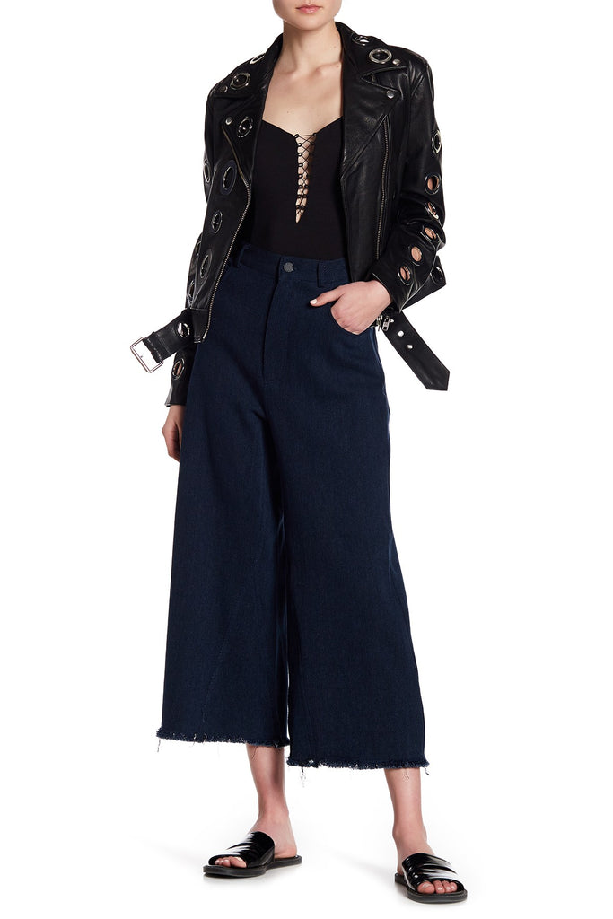 Kendall & Kylie Wide Leg Frayed Hem Pants