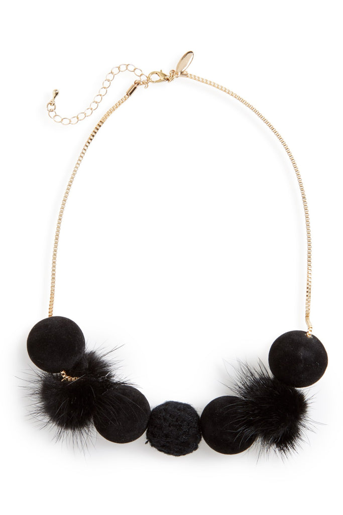 Natasha Accessories Fuzzy Pompom Necklace - PitaPats.com