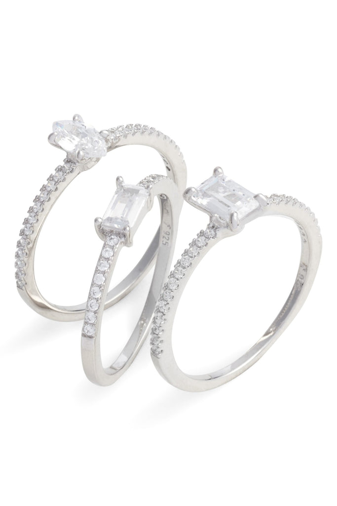 PitaPats Set of 3 Mix Shape Sterling Silver Cubic Zirconia Rings