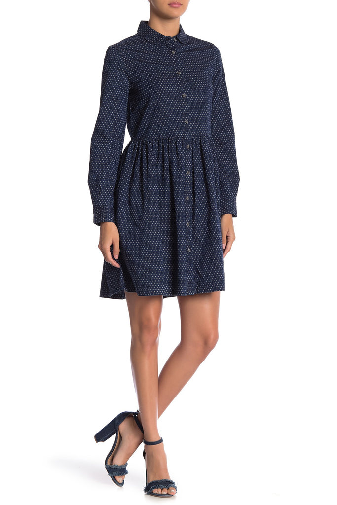 French Connection Indigo Cross Denim Shirt Dress - PitaPats.com