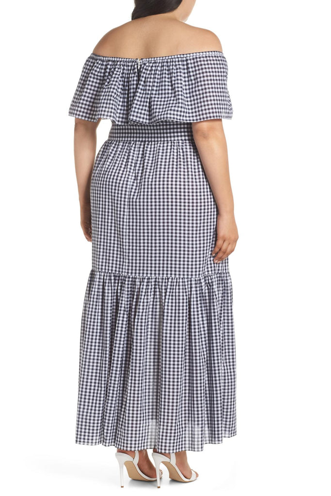 Chelsea28 OTS SPLIT FRONT GINGHAM MAXI DRESS - PitaPats.com
