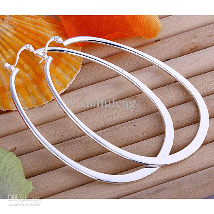 Sterling Silver Mega Flat Tear Drop Hoop Earring