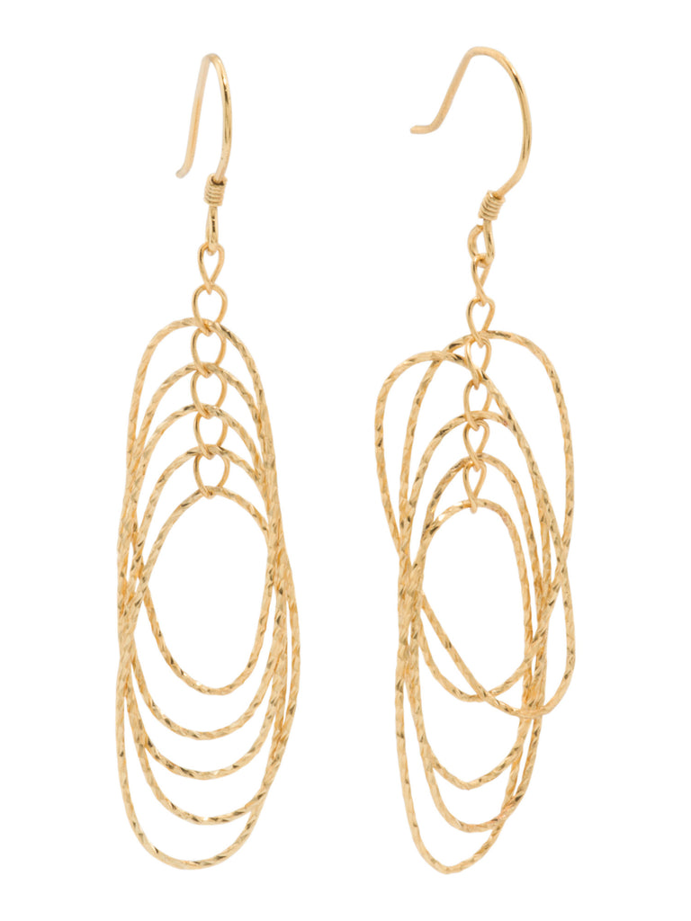 ADRIENNE VITTADINI Gold Plated Sterling Silver Diamond Cut Dangle Earrings - PitaPats.com