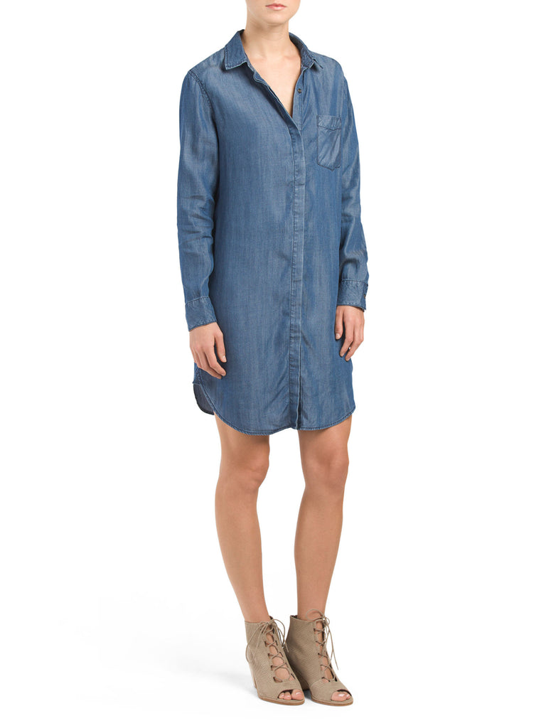 AJ ANDREA JOVINE Denim Tencel Shirt Dress - PitaPats.com