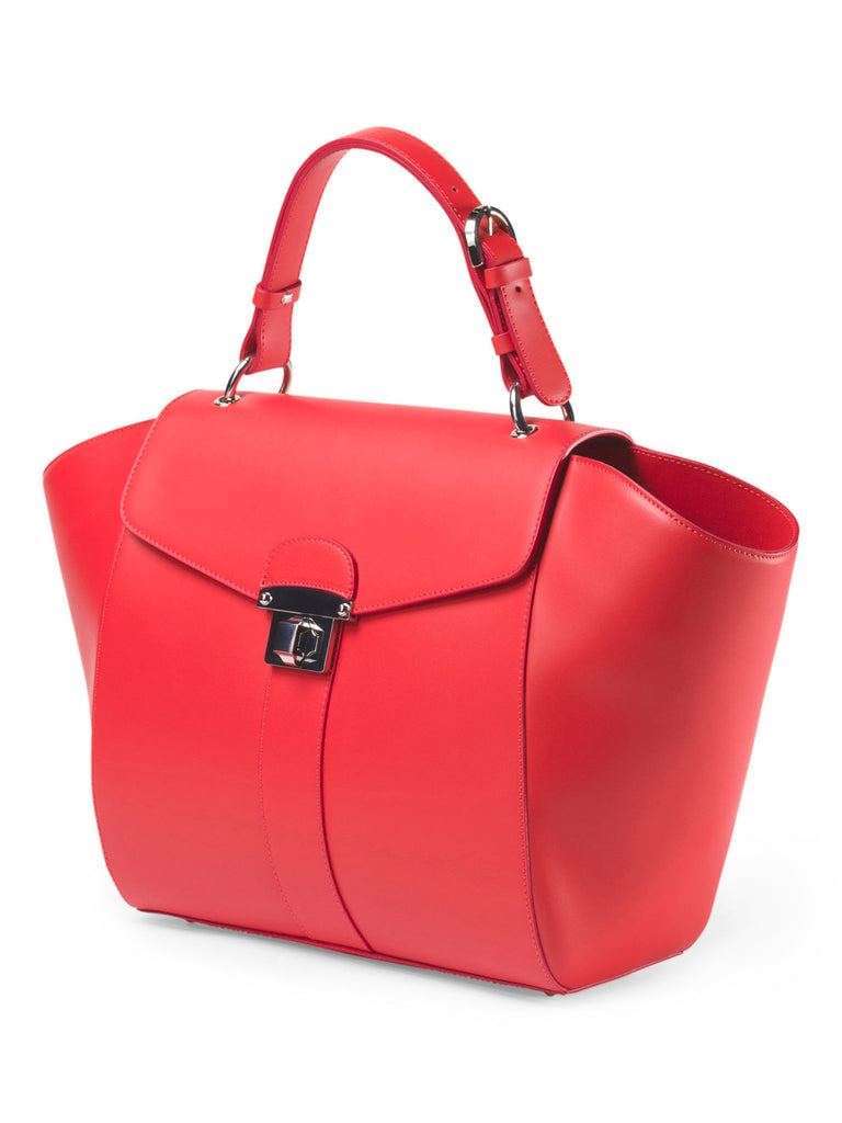 ALBERTA DI CANIO Made In Italy Leather Wing Tote - Tomato - PitaPats.com