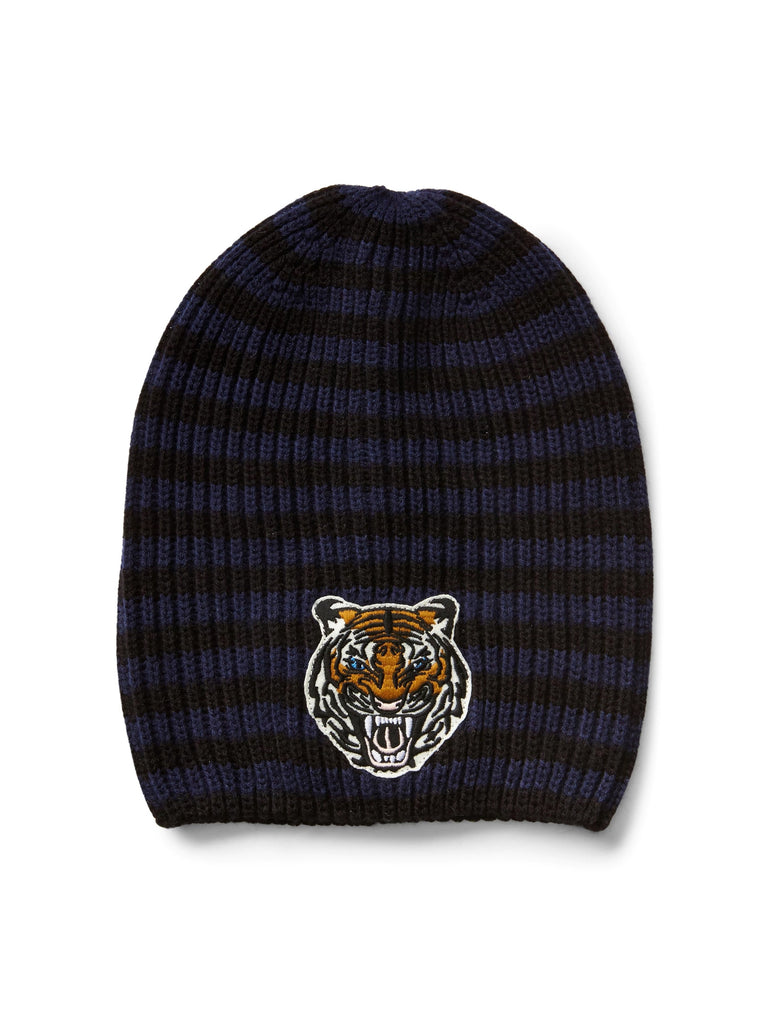 Animal-patch ribbed beanie - navy stripe - PitaPats.com