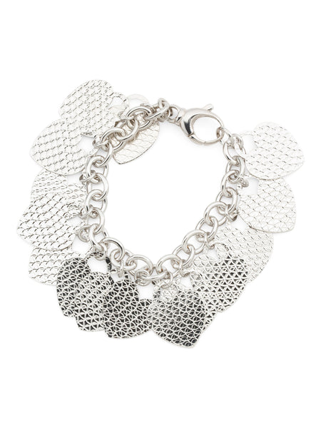 BELLROSE Made In Italy Diamond Cut Heart Charm Bracelet - PitaPats.com