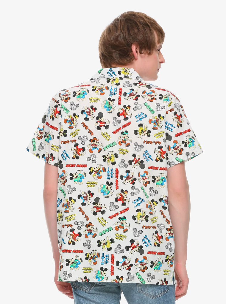 Disney Mickey Mouse Unisex Around the World Woven Cotton Button-Up Shirt
