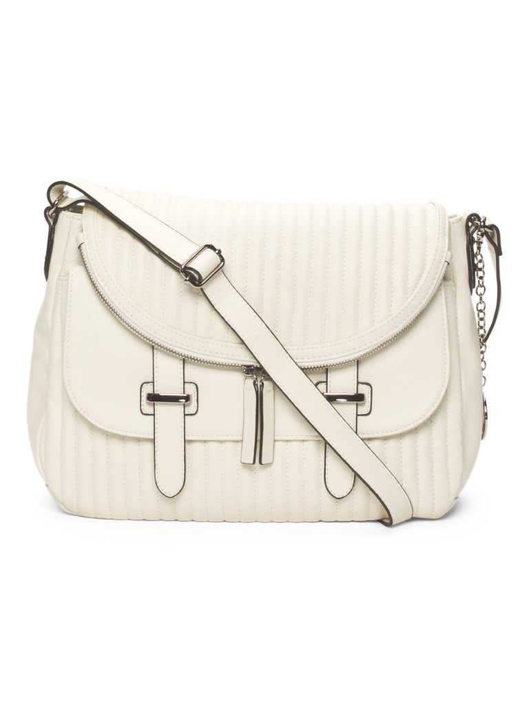 CHARLES JOURDAN Leather Kane Crossbody - Bone color - PitaPats.com