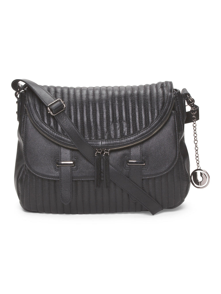CHARLES JOURDAN Leather Kane Crossbody - Black - PitaPats.com