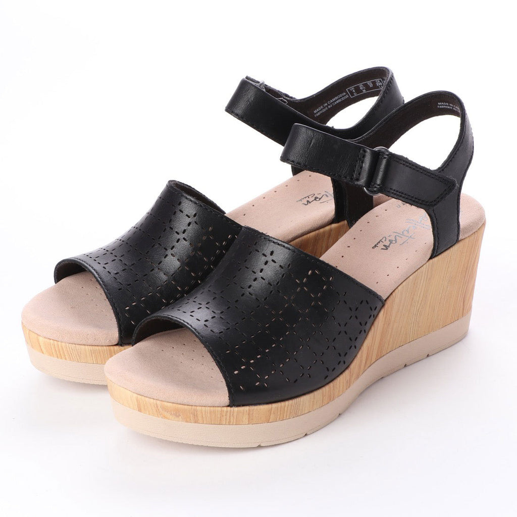 Clarks Women's Cammy Glory Wedge Sandal Black Leather
