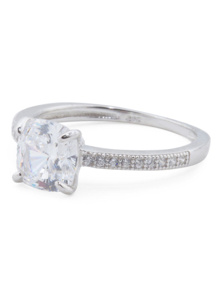 CONTESSA DI CAPRI Sterling Silver Cushion Cut Cubic Zirconia Engagement Ring - size 8 - PitaPats.com