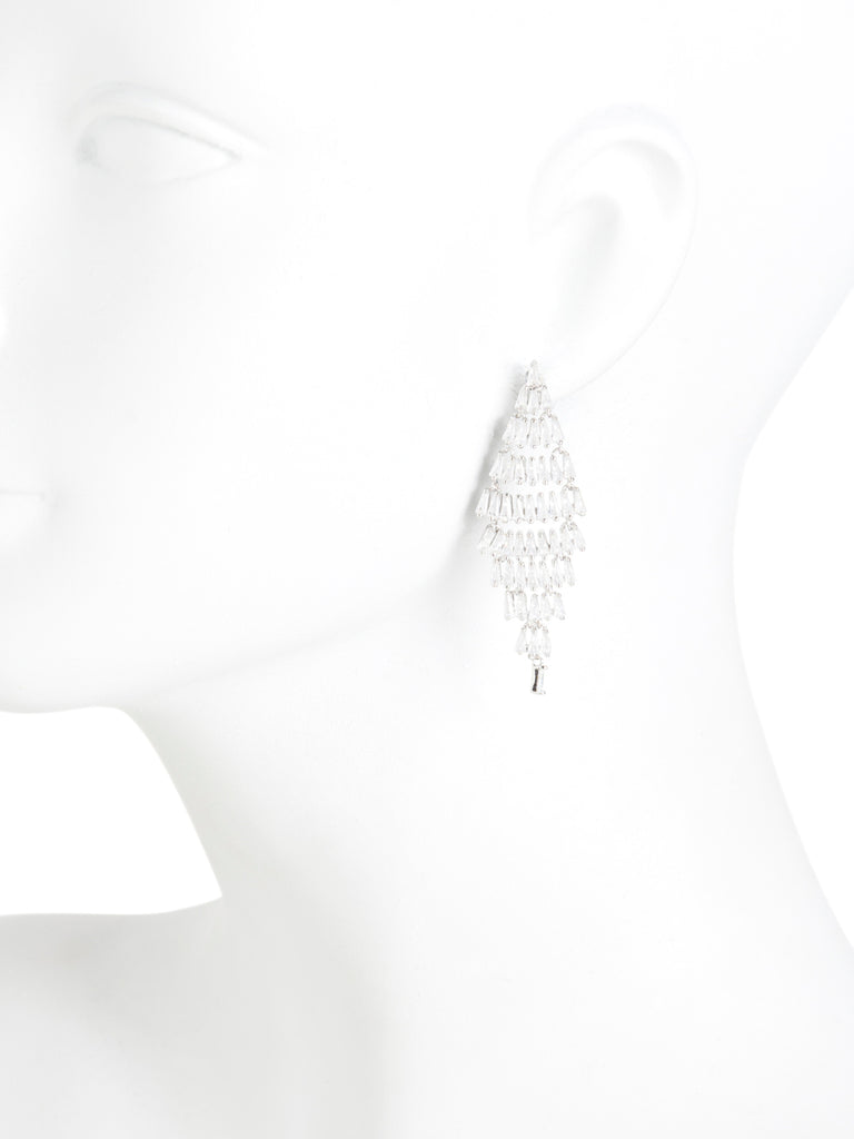 COTE D`ARGENT Sterling Silver Cubic Zirconia Baguette Kite Earrings - PitaPats.com