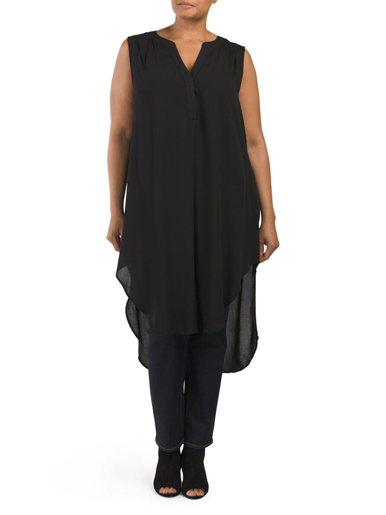 CUPIO Plus Sleeveless Split Neck Tunic - PitaPats.com