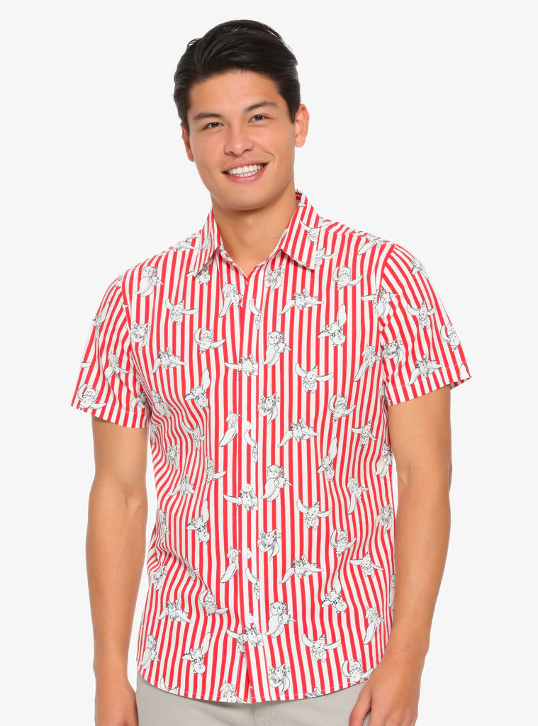 Disney Dumbo Allover Print Unisex Red Striped Cotton Woven Button-Up Shirt Top
