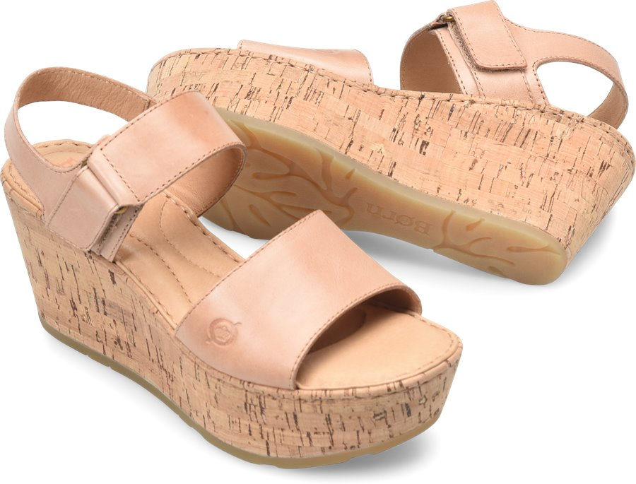 Born Women's Mae Leather Wedge Sandal Shoes Blush