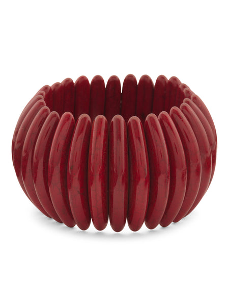 GARDENIA Coral Tribal Stretch Bracelet