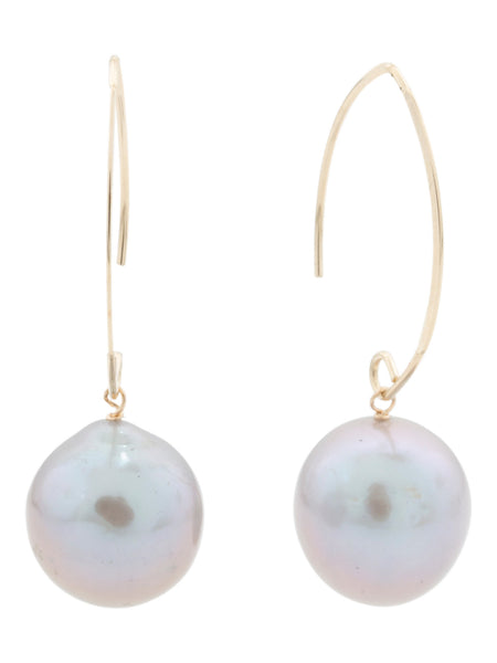 GEORG K. Made In Usa 14k Gold Grey Baroque Pearl Earrings